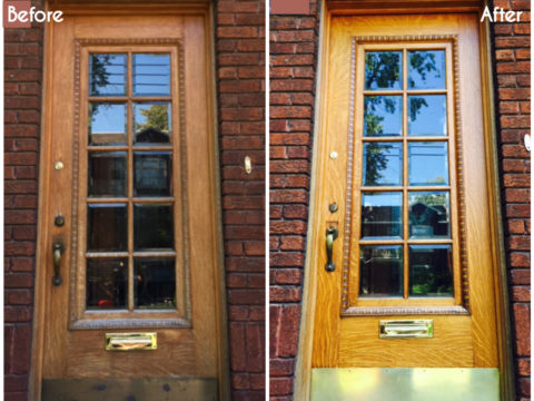 refinish exterior wood door