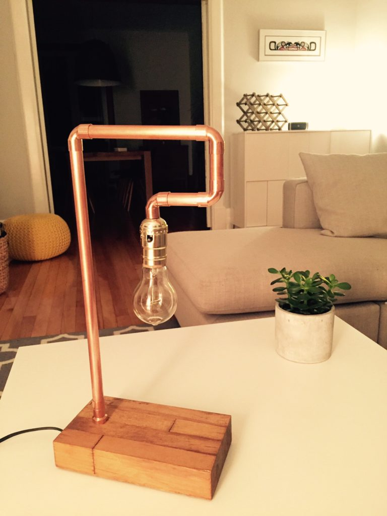copper pipe table lamp
