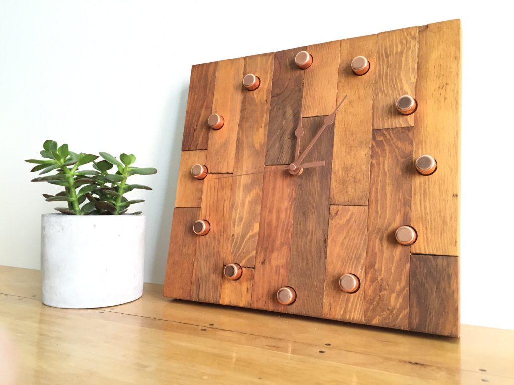DIY butcher block clock