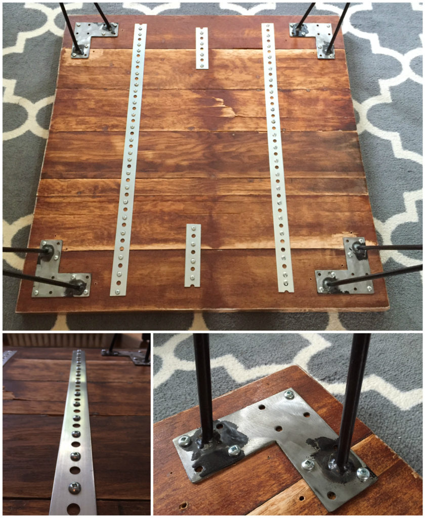 Hairpin leg butcher block coffee table diy montreal for Attaching hairpin legs