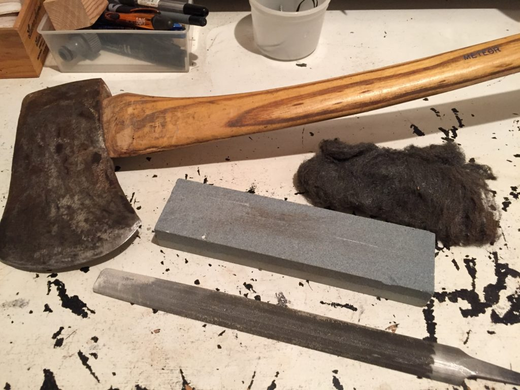 sharpen dull old axe