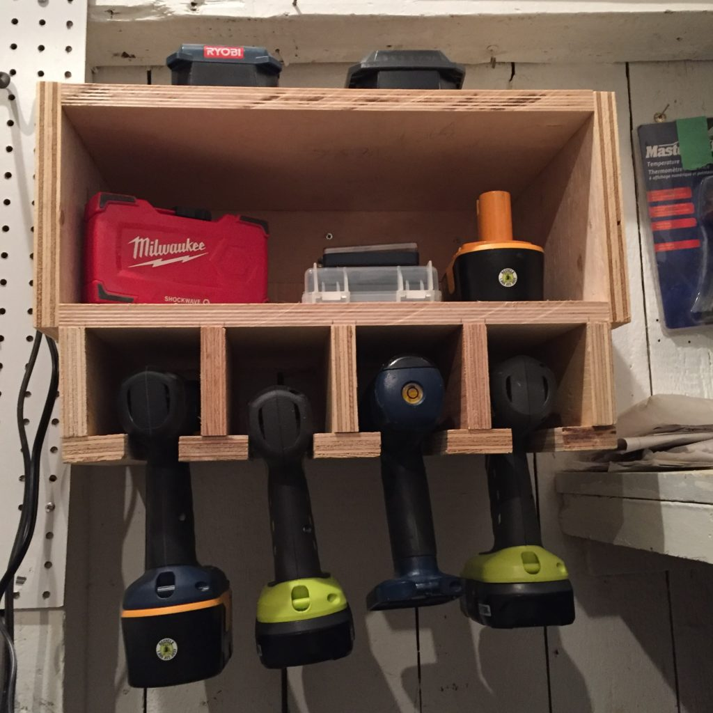 cordless drill storage dock & How to make a drill rack | DIY Montreal