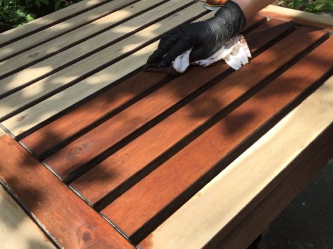 refinish Ikea applaro wood patio furniture