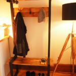 Industrial Coat rack bench hall tree