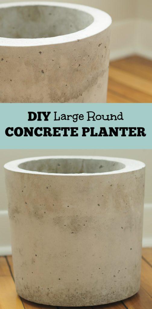 DIY large round concrete planter