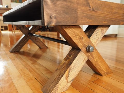 Farmhouse industrial coffee table X legs steel pipe