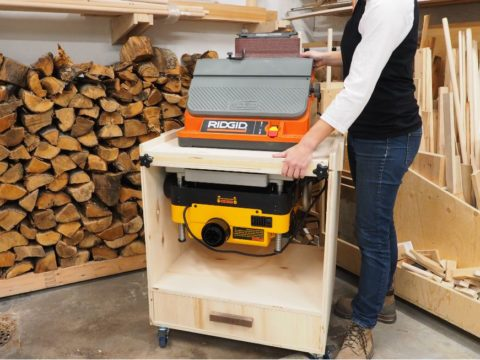 Flip Top Tool Cart - Dewalt DW735 planer Ridgid oscillating spindle sander